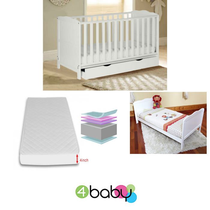 4Baby Classic Deluxe CotBed With Drawer  Deluxe Foam Mattress