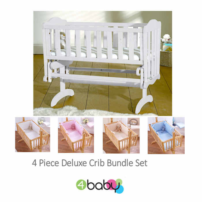 4baby Classic Glider Crib - White - dimple