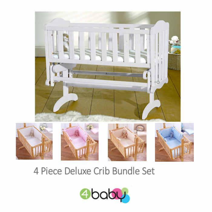 4baby Classic Glider Crib - White - dimple
