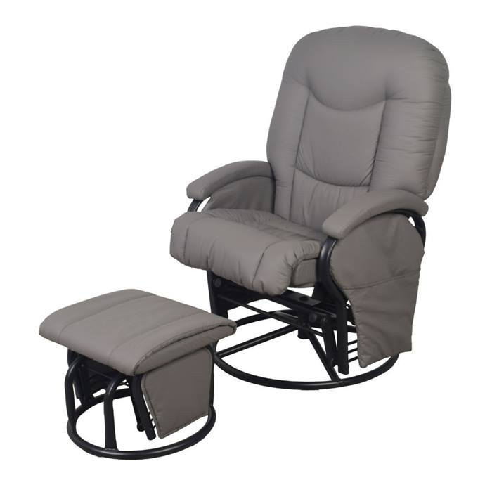 Babylo Cloud Nine Glider Chair & Stool (Slate Grey)