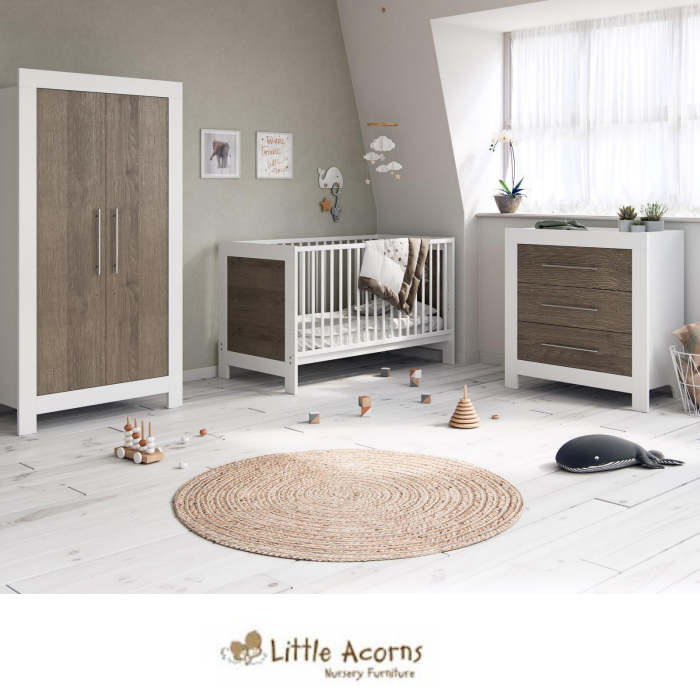 Little Acorns Luxury Portland Cot Bed 5 Piece Nursery Furniture Set With Deluxe 4inch Foam Mattress