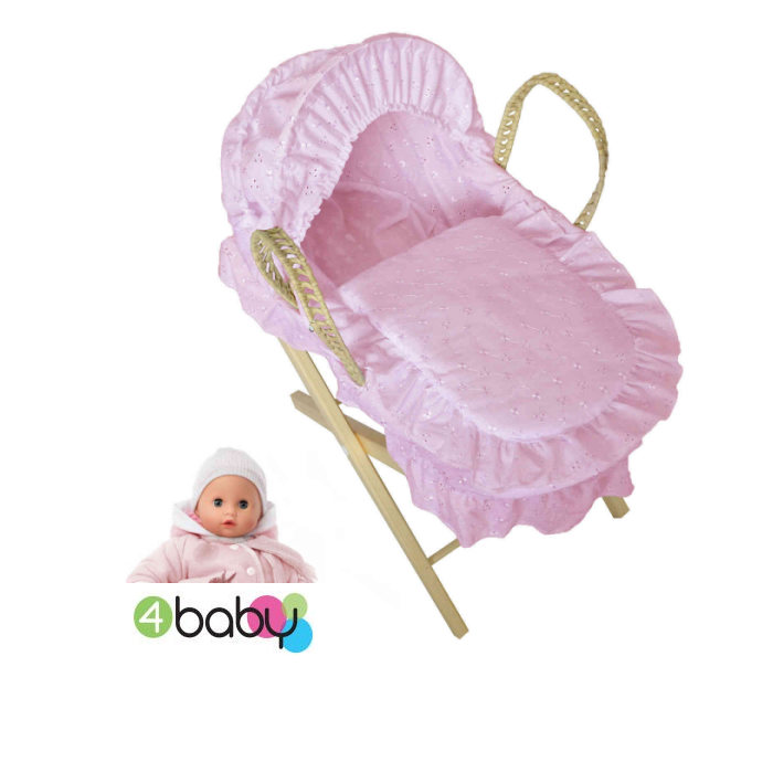 4Baby Luxury Dolls Broderie Anglaise Moses Basket  Pine Stand  Pink