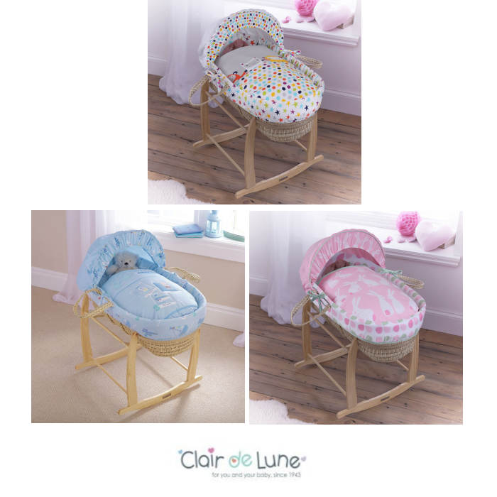 Clair De Lune Palm Moses Basket & Deluxe Rocking Stand