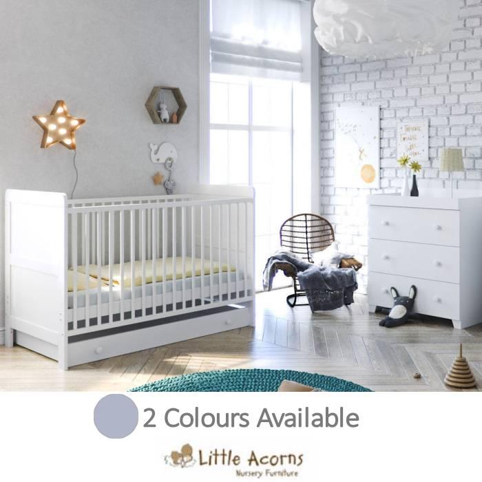 Little Acorns Classic Milano Cot Bed 4 Piece Nursery Furniture Set with Deluxe Foam Mattress