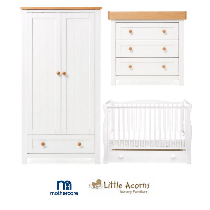 Mothercare Little Acorns Sleigh Cot Bed & Drawer 6 Piece Nursery Furniture Set With Deluxe 4inch Foam Mattress - White