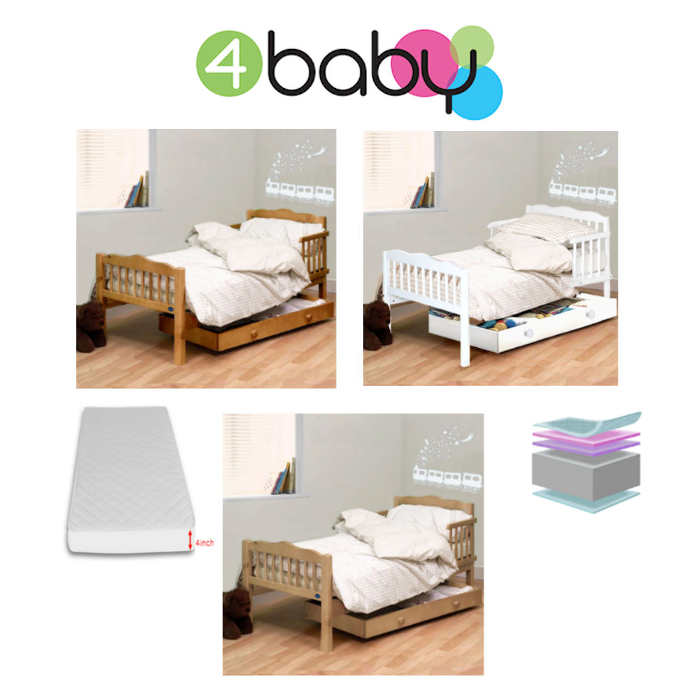 4Baby Sara Junior Toddler Bed With Fibre Mattress - White
