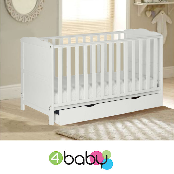 4Baby Classic Cot Bed With Drawer & Deluxe Foam Mattress - White