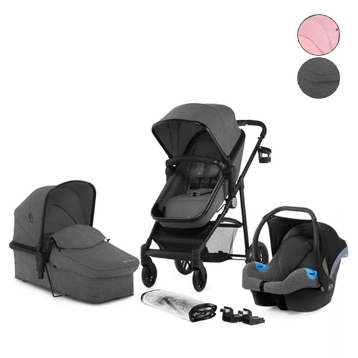 3-in-1 Kinderkraft Juli Travel System With Buggy, Car Seat & Carrier - Grey or Pink