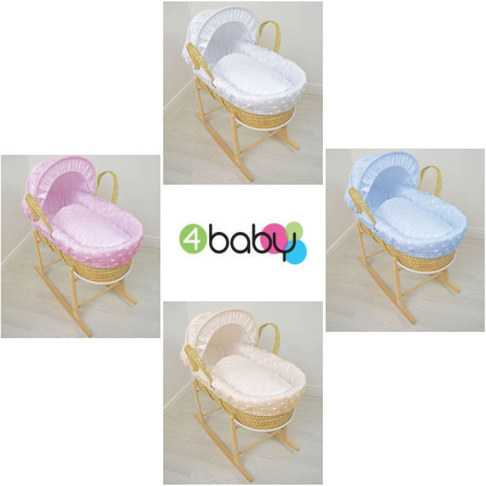 4baby Palm Moses Basket  Rocking Stand  Soft Stars