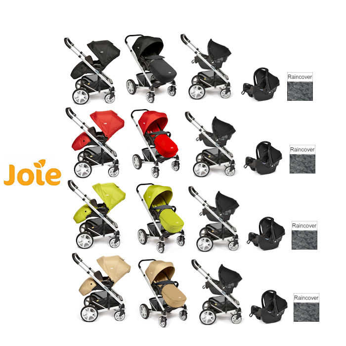 Joie Chrome Plus Silver Frame Travel System With Colour Pack