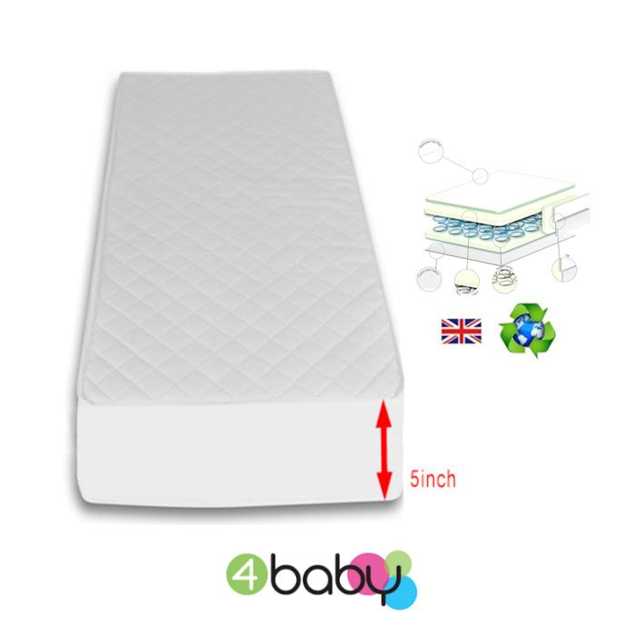 4Baby 5 Inch Luxury Hypo Allergenic Quilted Spot Sprung Cot Mattress 120 x 60