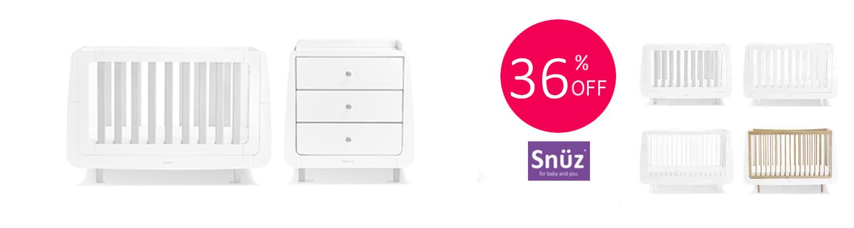 Snuz Snuzkot 4 Piece Cot Bed Nursery Furniture Room Set With Dresser & Free Maxi Air Cool Mattress
