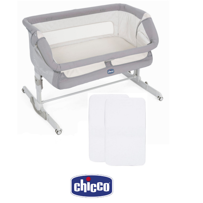 Chicco Next2me Dream Bedside Crib With 2 Fitted Sheets - Graphite Grey