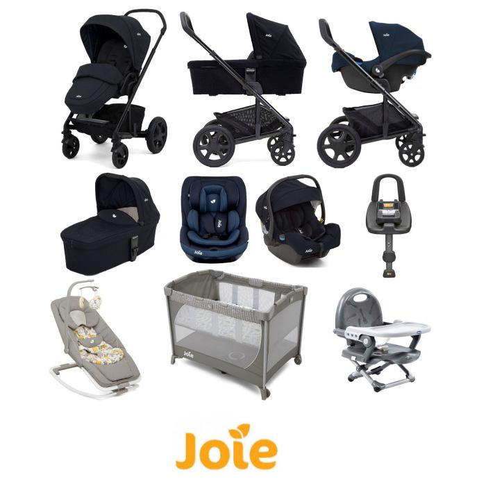 Joie Chrome DLX iGemm iVenture Everything You Need Travel System With Carrycot and ISOFIX Base Bundle Navy Blazer