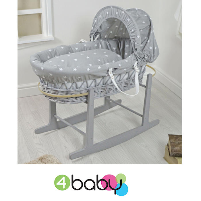 4Baby Padded Grey Wicker Baby Moses Basket & Rocking Stand