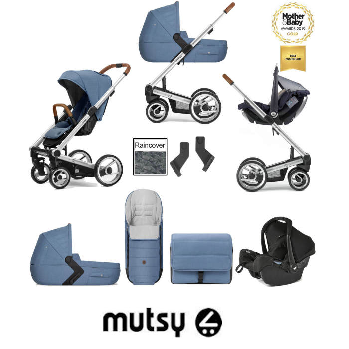 Mutsy I2 Heritage (Silver Chassis) Travel System (Gemm) With Carrycot & Accessories - Heritage Blue