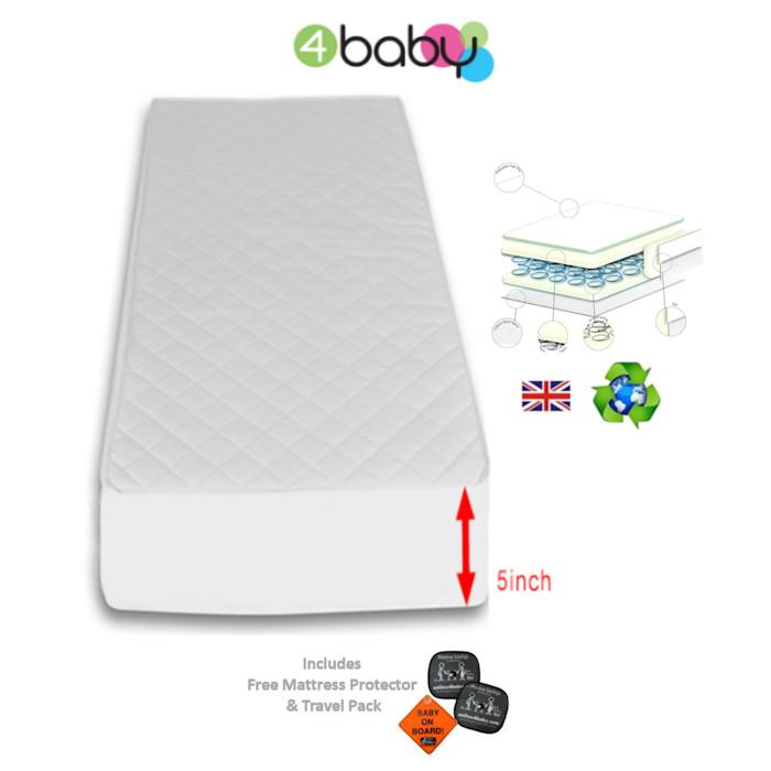 4Baby 5 Inch Luxury Hypo Allergenic Quilted Spot Sprung Cot Mattress 140 x 69