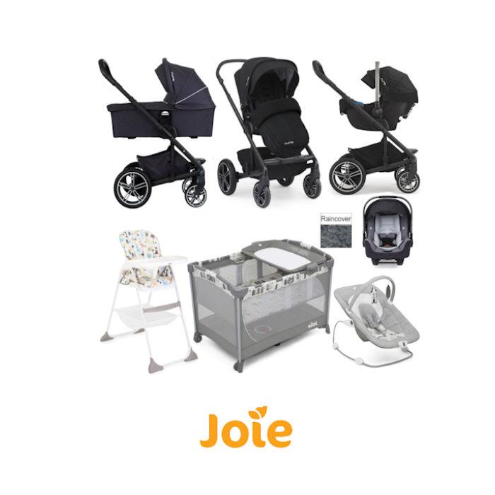 Nuna Joie Mixx Everything You Need Travel System Bundle - Jett