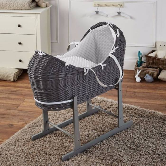 White Dimple Grey Wicker Moses Basket Pod And Grey Rocking Stand