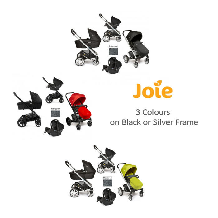 Joie Luxury Chrome  Black Plus Silver Frame Travel System  Carrycot