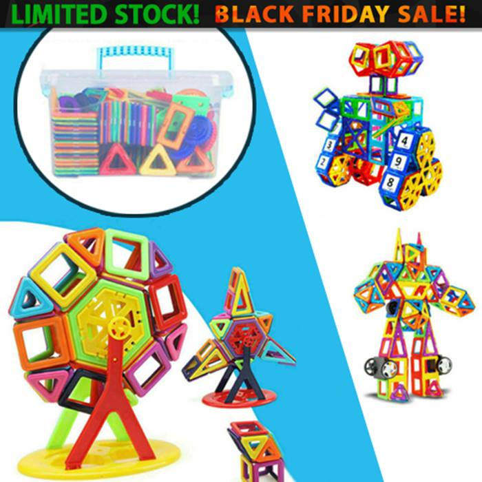 64 or 95-Piece Magnetic Building Blocks Set and Storage Box