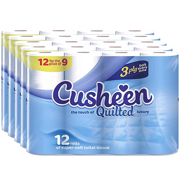 60-Pack of Cusheen Quilted White Toilet Rolls