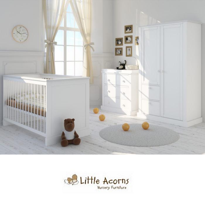 Little Acorns Luxury Sophia 5 Piece Nursery Room Set With Deluxe 4inch Foam Mattress