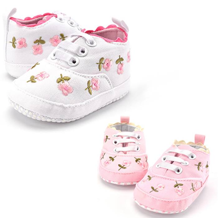 Floral Embroidered Soft Baby Shoes - 2 Colours