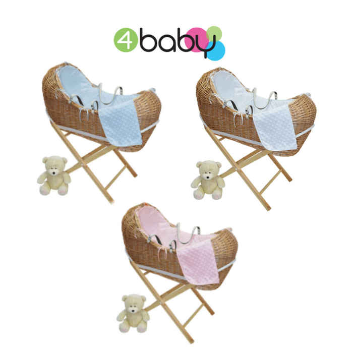 4Baby Natural Wicker Baby Pod  Pine Stand