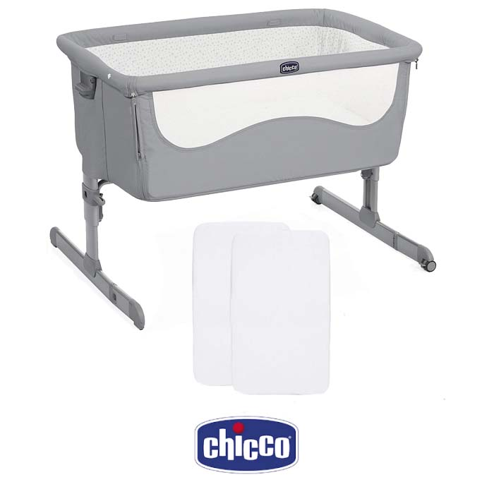 Chicco Next2Me Bedside Crib With 2 Fitted Sheets