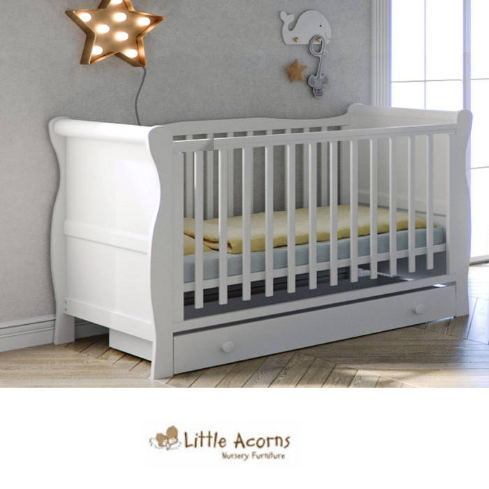 Little Acorns Sleigh Cot With Foam Mattress Drawer