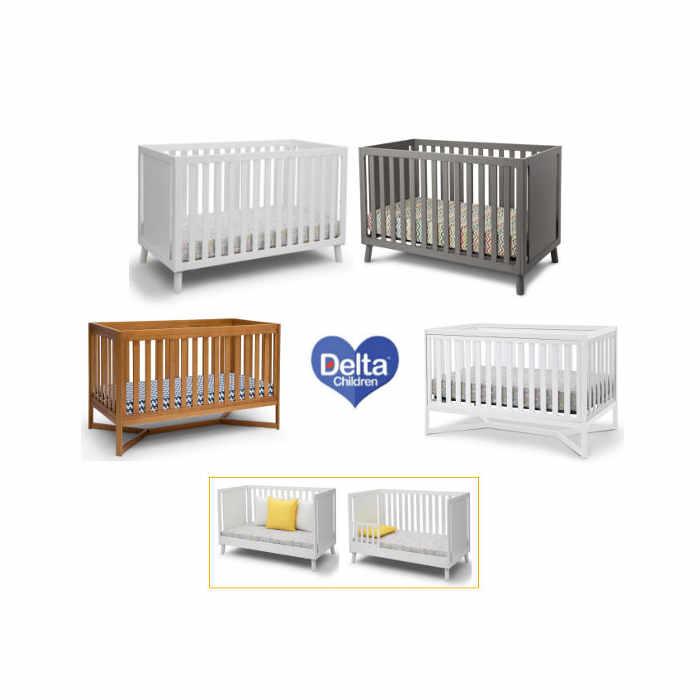 Delta Children  4 in 1 Crib  Cot Bed With Foam Mattress- White