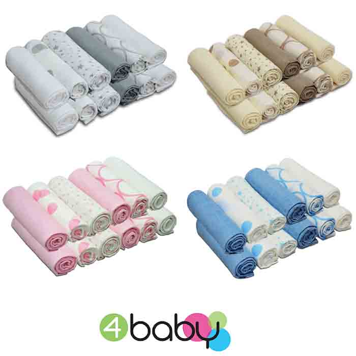 4baby Cotton Muslin Squares 12 Pack