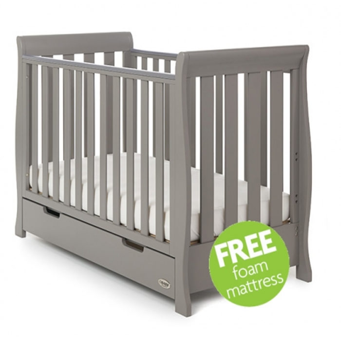 kkObaby  Lincoln Sleigh Mini Cot Bed Including Underbed DrawerTaupe Grey  Free Foam Mattress Worth 50