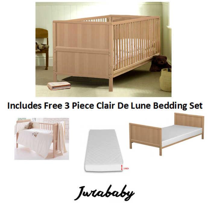 Jurababy Classic Cot Bed With Foam Mattress  CDL Set  Beech
