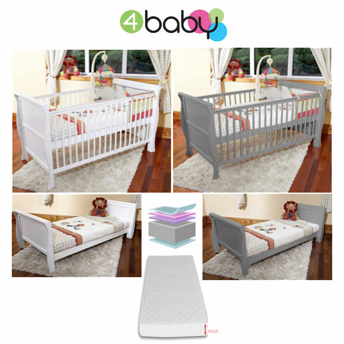 4Baby 3 In 1 Monaco Sleigh Cot Bed With Foam