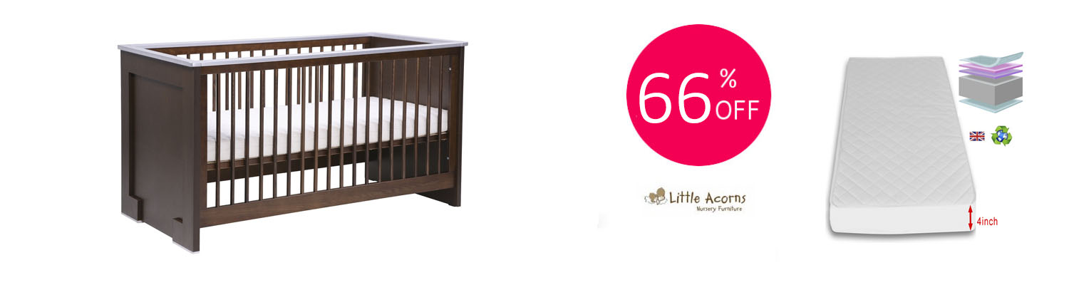 Little Acorns Luxury Modern Cot Bed with Fibre Mattress