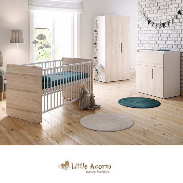 Little Acorns Oxford Cot Bed 5 Piece Nursery Room Set With Deluxe Foam Mattress