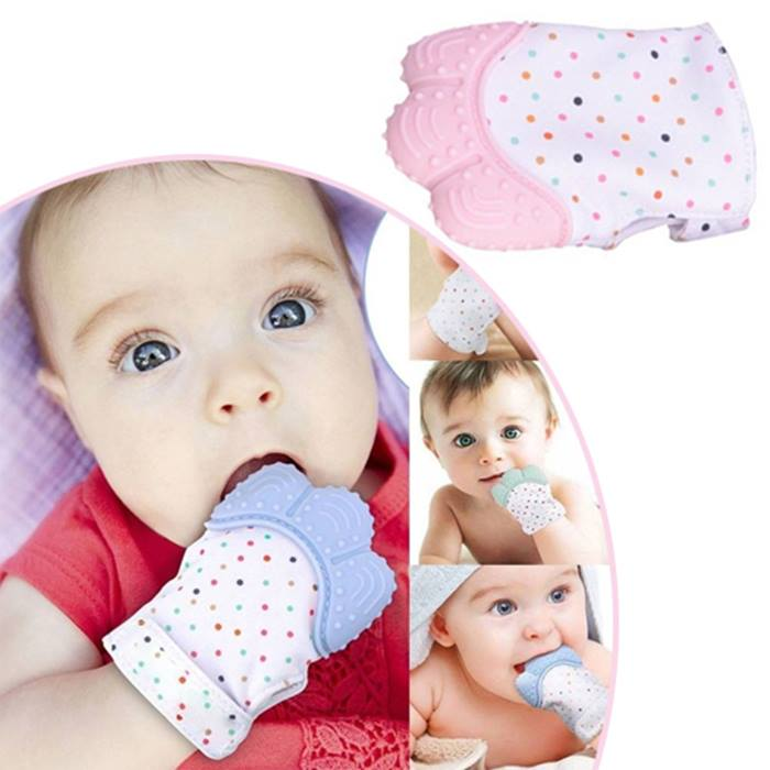 Pack of 1, 2 or 4 Baby Anti-Scratch Teething Mittens - 5 Colours