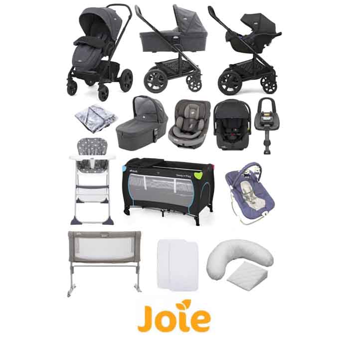 Joie Chrome DLX (i-Gemm 2 & i-Venture) Travel System with Roomie 5 Piece Bedside Crib Bundle
