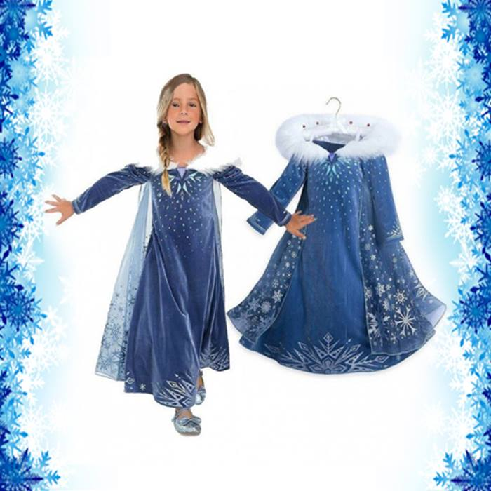 Ice-Princess Dress With Sparkling Cape - 6 Sizes
