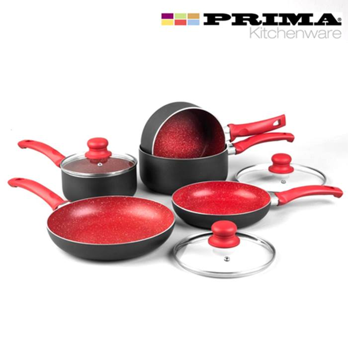 8-piece marble effect induction pan