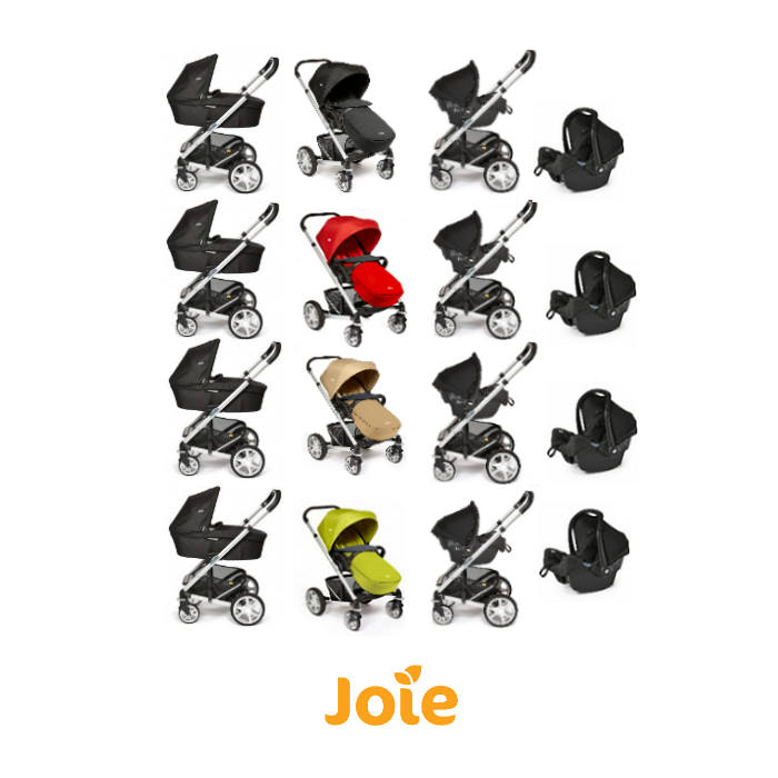 Joie Chrome Plus Silver Frame Travel System  Carrycot