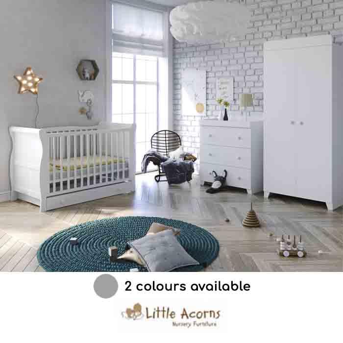 Little Acorns Sleigh Cot Bed 6 Piece Nursery Furniture Set With Deluxe 4inch Foam Mattress