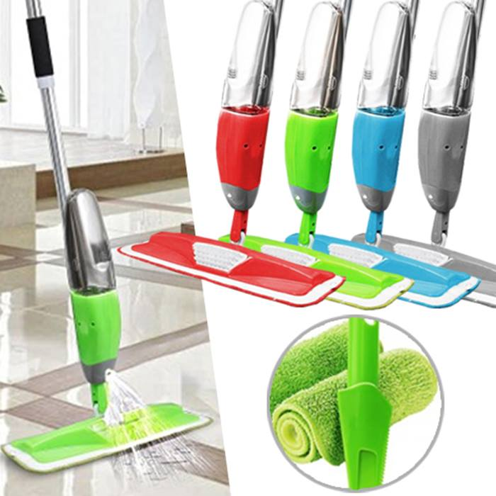 3-in-1 Magic Microfibre Spray Mop With Scraper Plus 2 Replacement Heads - 4 Colours