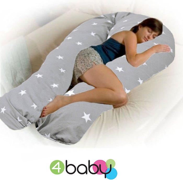 4baby 12ft Body & Baby Sleep Support Pillow - Grey / White Stars