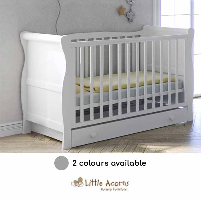 Little Acorns Sleigh Cot With Deluxe Foam Mattress Drawer White