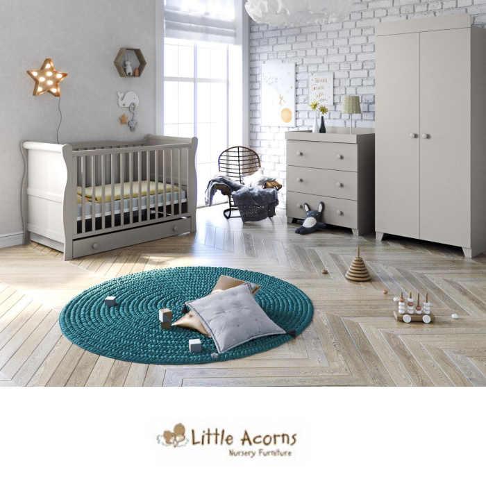 Little Acorns Sleigh Cot 6 Piece Nursery Room Set With Deluxe 4inch Foam Mattress