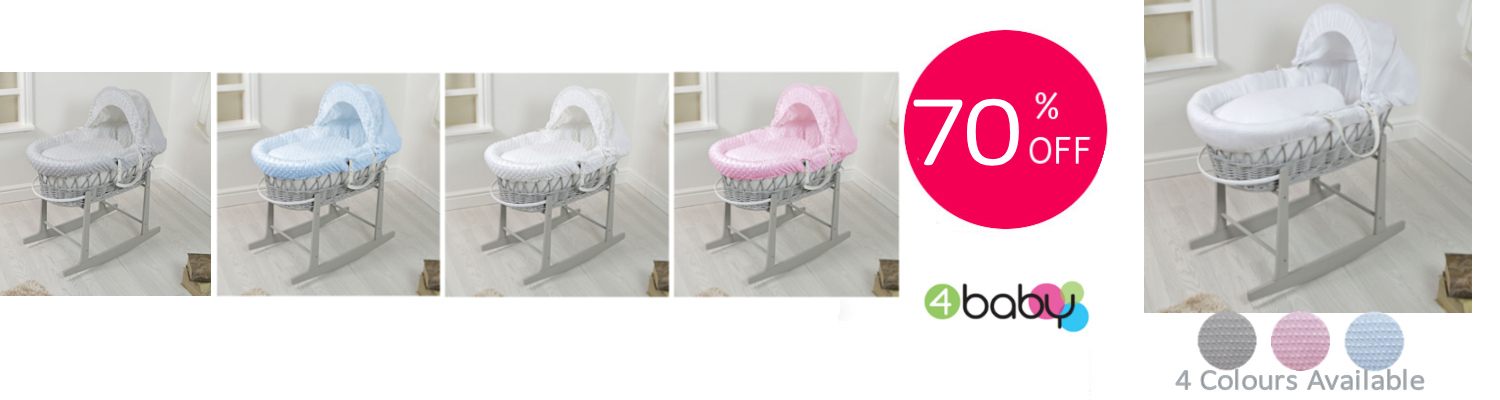 4baby Grey Wicker Moses Basket Dimple - Carousel