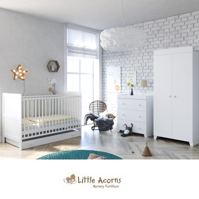 Little Acorns Classic Milano Cot Bed 5 Piece Nursery Furniture Set with Deluxe Foam Mattress - White